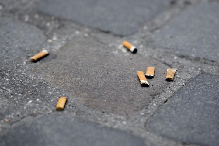 Zigarettenkippen liegen auf einem Gehweg mit Pflastersteinen