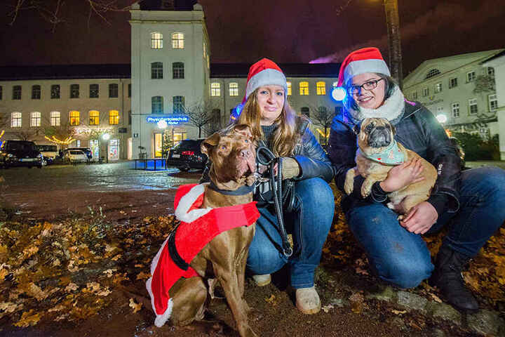 Wuffis Wallfahrt auf den Weihnachtsmarkt: Desiree Held (27) und Linda Wiedemann (28, v.l.) haben den ersten Hunde-Weihnachtsmarkt am Samstag in der Schönherrfabrik organisiert.