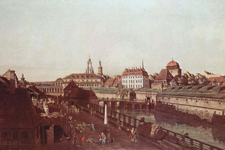 So sah die Festung an der heutigen Wallstraße um 1750 aus, gemalt von Hofkünstler Canaletto. Rechts ungefähr die Stelle, wo nun Teile der Mauer gefunden wurden, links im Hintergrund der Zwinger.