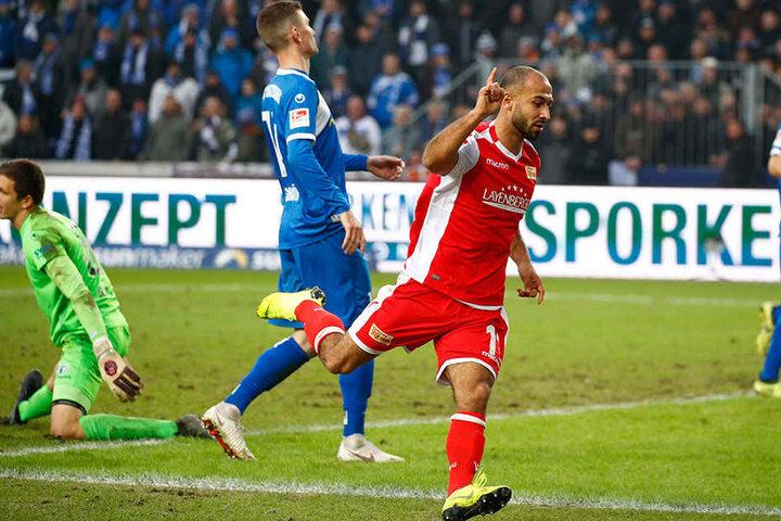 Dreht jubelnd ab: Akaki Gogia trifft zum 1:1-Ausgleich für den 1. FC Union Berlin.