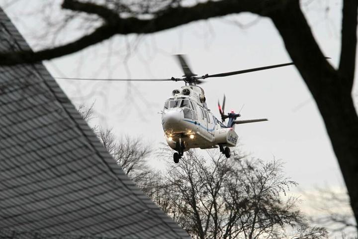 Die Kanzlerin kam mit einem Helikopter der Luftwaffe in Chemnitz eingeflogen.