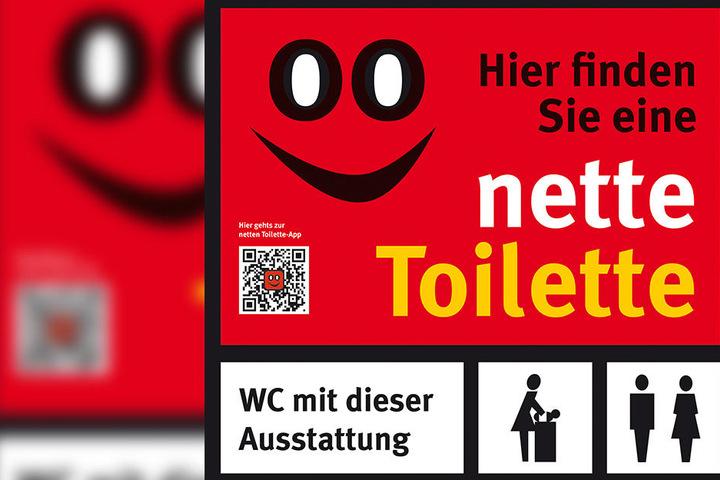 Das Logo leitet in 260 Städten Passanten zum stillen Örtchen.