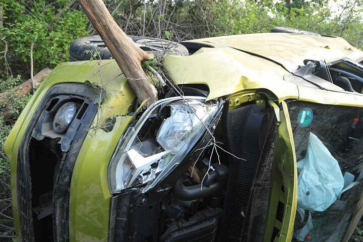 Der VW Up überschlug sich und blieb im Gebüsch liegen. Die Beifahrerseite wurde von einem Baumteil durchbohrt, zum Glück saß dort niemand.