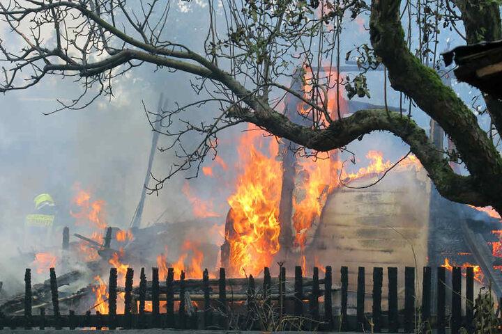 Die Lauben standen komplett in Flammen als die Feuerwehr eintraf.