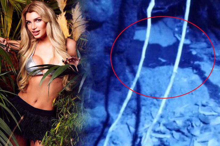 """Peinlich: Für Model Giuliana war es zu dunkel in der Höhle - sie traf die Toilette nicht! Das """"Ergebnis"""" rieselte sichtbar für alle hinterm Vorhang vor..."""