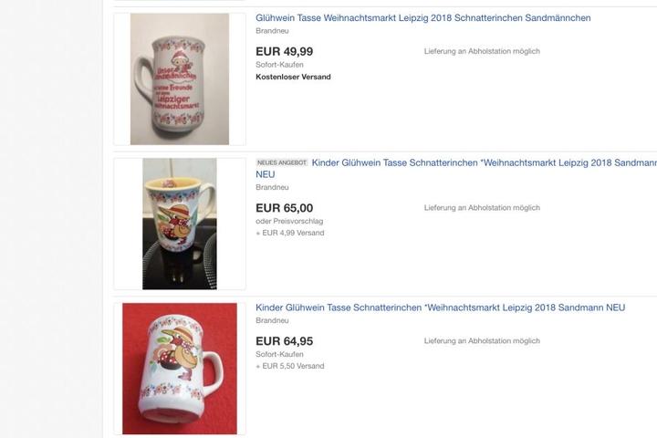 Schnelles Geschäft: 2,50 Euro zahlen die Weihnachtsmarkt-Besucher für die Kindertassen. Über 60 Euro Gewinn machen sie, sollte sich wirklich jemand finden, der bereit ist, den Wucher-Preis auf Ebay zu zahlen.