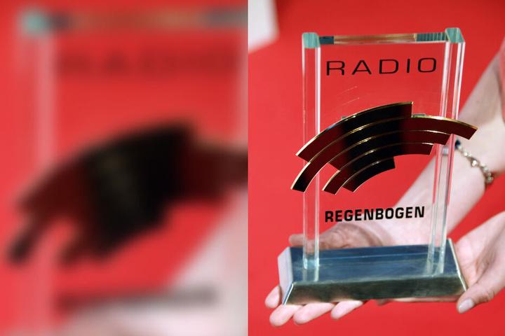 Ein Radio Regenbogen Award wird im Europapark Rust letztes Jahr vor der Verleihung gezeigt.