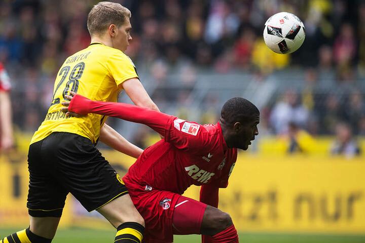 Anthony Modeste im Duell mit dem damaligen Borussia-Dortmund-Verteidiger Matthias Ginter.