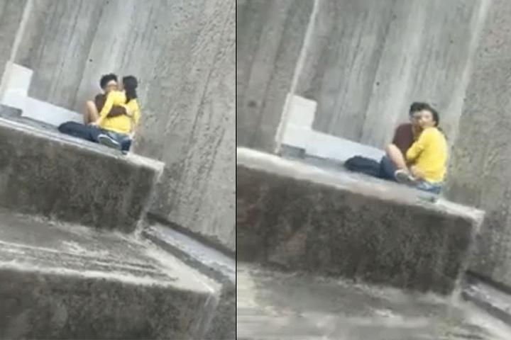 Eine andere Person schlich sich von hinten an. Das Paar reagierte überrascht und suchte erschrocken das Weite.
