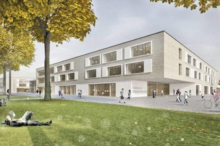 Visualisierung des künftigen Schulstandortes Gehestraße in Pieschen.