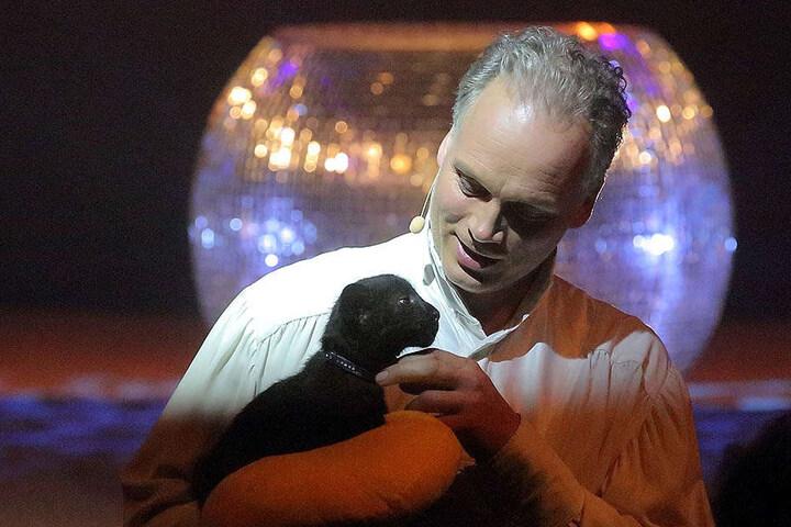 """""""Papa"""" André Sarrasani (45) mit der Mietzekatze auf die Bühne."""