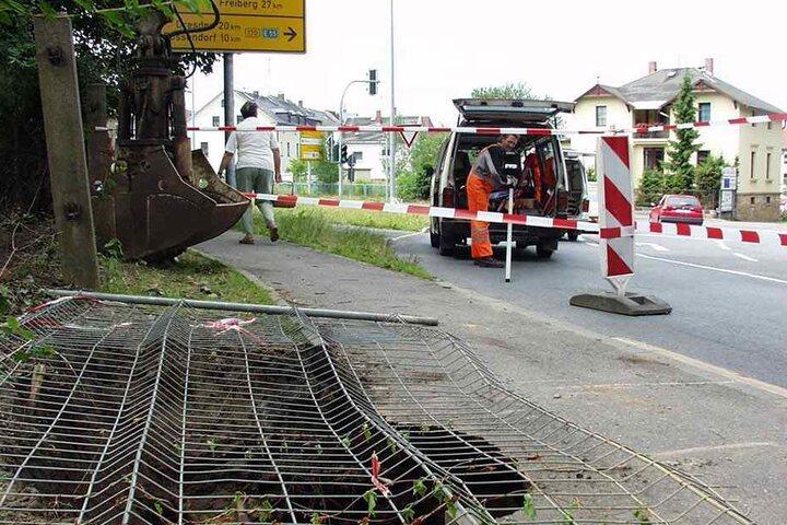 Immer wieder kommt es in Sachsen zu Absenkungen, hier 2003 in Dippoldiswalde (Glashütter Straße).