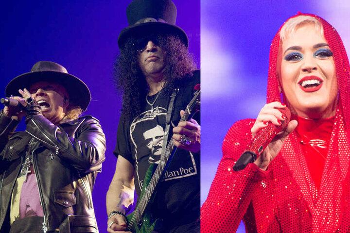 Axl Rose und Slash wieder bei den Gunners vereint. Rechts: Katy Perry schlüpft fast bei jedem Song in ein neues Outfit.
