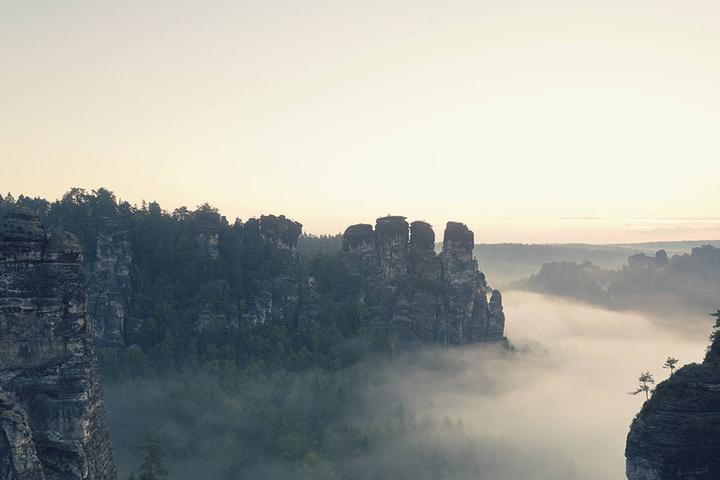 Blick auf das Gansmassiv in der Sächsischen Schweiz.