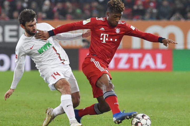 Kingsley Coman (r.) hatte gegen Augsburg am 22. Spieltag vor seiner Verletzung doppelt getroffen.