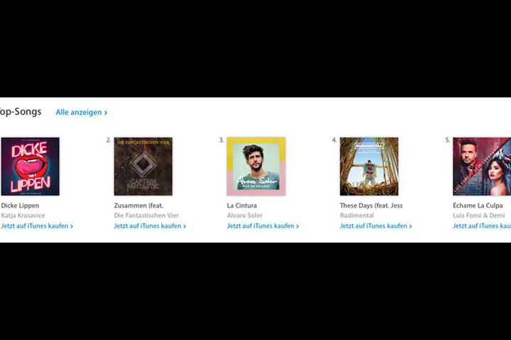 """Schon wenige Tage nach der Veröffentlichung kletterte """"Dicke Lippen"""" auf Platz 1 der iTunes-Downloadcharts (Stand: Montag, 9 Uhr)."""