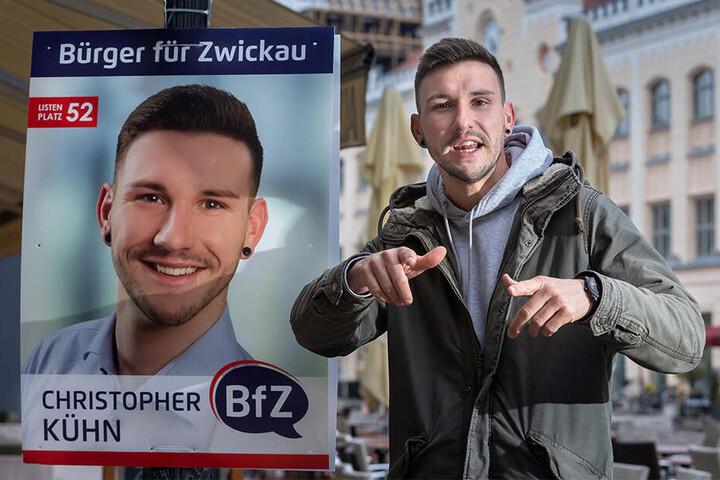 Christopher Kühn (29) liebt seine Heimatstadt Zwickau. Mit seiner Musik bringt der Stadtratskandidat das immer wieder zum Ausdruck.