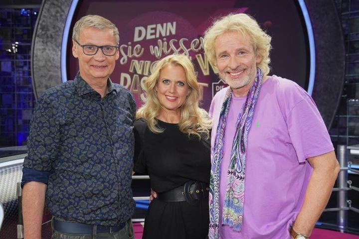 Vor der Show konnten Günther Jauch, Barbabara Schöneberger und Thomas Gottschalk noch lachen.