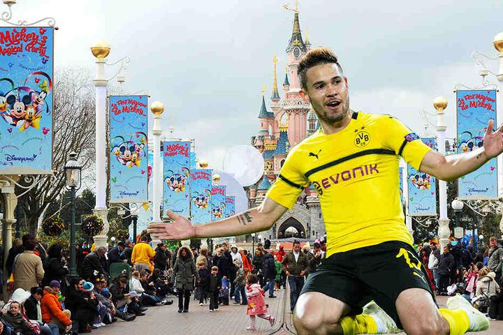Raphael Guerreiro gibt zu, dass er in Paris war - allerdings in Disneyland, nicht zu Vertragsverhandlungen mit PSG. (Bildmontage)