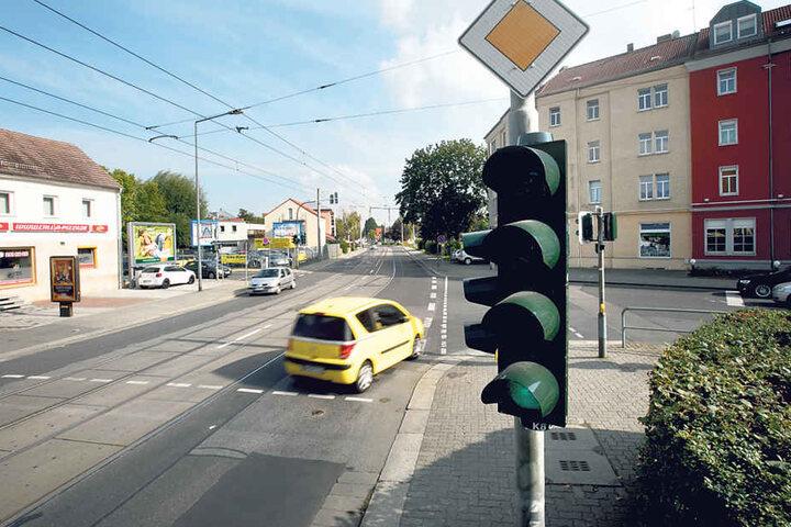 An der Kreuzung Reicker/Tornaer Straße fehlt seit diesem Jahr ein  Grünpfeil.