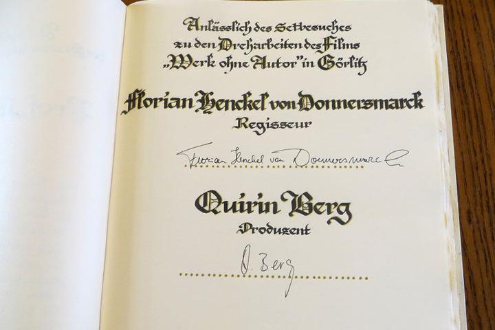 Beim Goldenen Buch führt die Stadt Regie - Florian Henckel von Donnersmarck  musste nur noch unterschreiben.