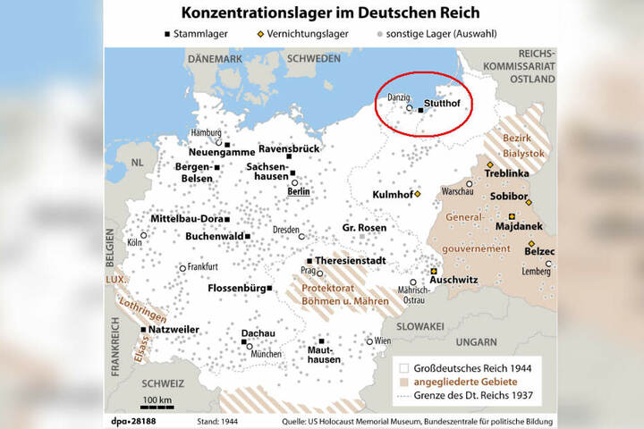 Karte: Konzentrationslager im Deutschen Reich im Jahr 1944.