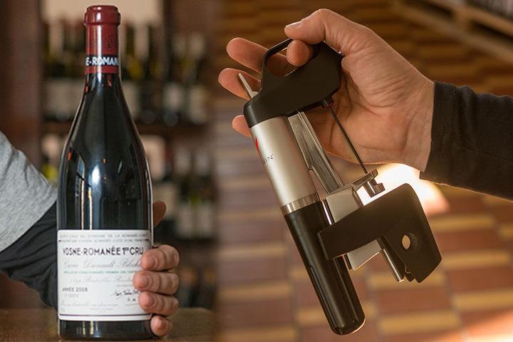 Dank Coravin-Werkzeug kann der Wein gläserweise aus der Flasche gezapft werden.