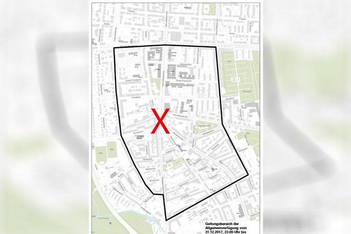 Im schwarz umrandeten Gebiet um das Connewitzer Kreuz (rotes Kreuz) sind Spontan- und Eilversammlungen in der Silvesternacht verboten.