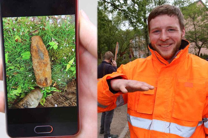 Arbeiter Kai Wolf zeigt seine zittrige Hand und ein Foto der Granate.