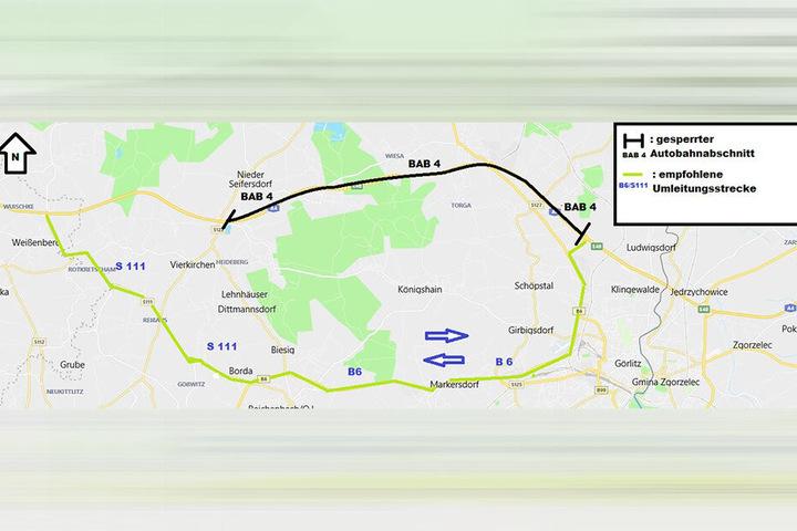 Die Polizeidirektion Görlitz stellte diese Karte zur Verfügung.