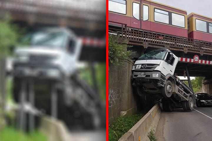 Kurioser Lkw-Unfall unter S-Bahnbrücke - Bilder