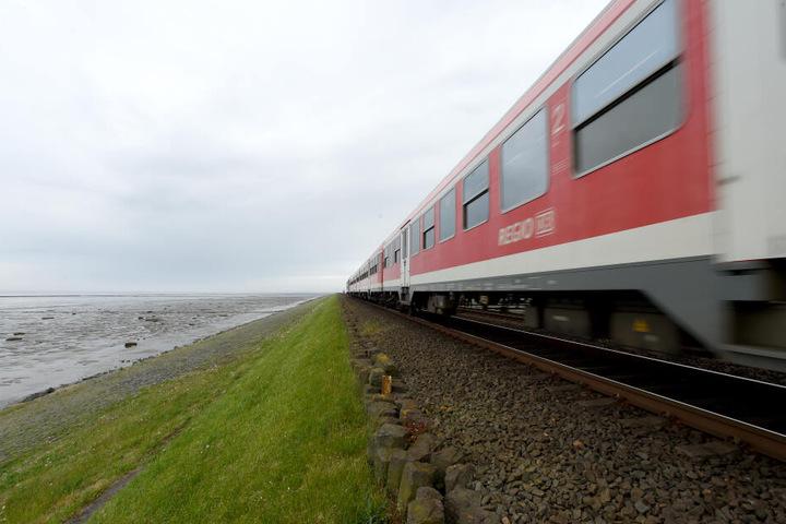 Ein Zug der DB Regio fährt über den Hindenburgdamm zwischen Sylt und Niebüll.