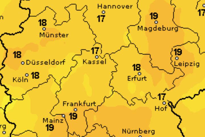 Dienstag steigt das Thermometer auf ungefähr 18 Grad Celsius.