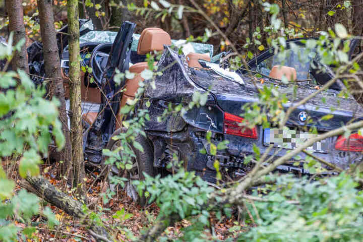 Der BMW kam nach dem schweren Unfall erst in einem Waldstück zum Liegen.