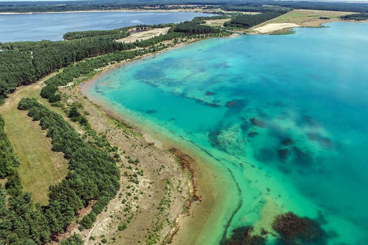 Das Wasser des Partwitzer Sees schimmert derzeit azurblau. Das liegt am Kalk, der den pH-Wert verbessern soll.