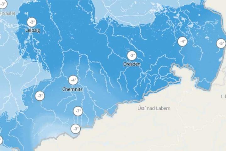 Diese Karte von wetter.de zeigt die gefühlten Temperaturen in Sachsen am Samstag, den 13. April.