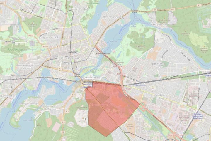 Die Sperrzone in der Teltower Vorstadt in Potsdam ist Rot eingefärbt.
