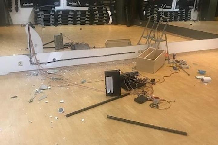 Chaos im Fitnesszentrum.