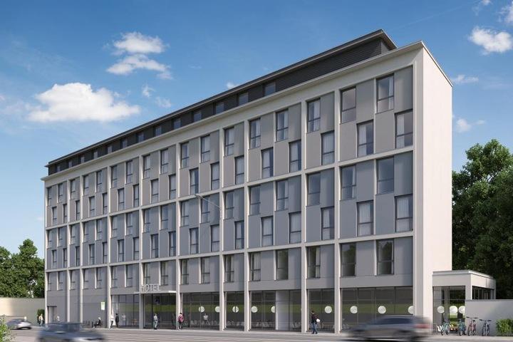 "So soll das künftige ""Super 8""-Hotel an der Marienbrücke aussehen."