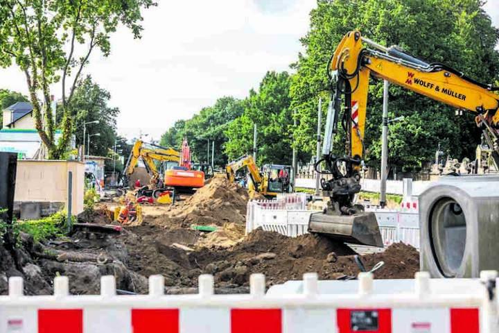 Die Arbeiten an der Wehlener Straße begannen mit Verzögerungen. Dabei war das  Geld längst eingeplant.