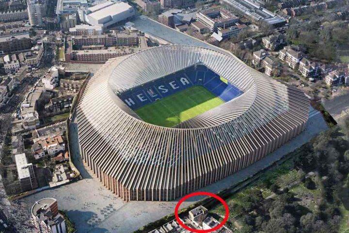 So soll die neue Stamford Bridge in London aussehen. Anwohner (Kreis) fordern für ihr künftiges Schattendasein eine Millionenentschädigung.