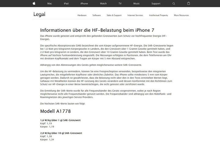 Auf der Apple-Website kann man sich über die HF-Belastung beim neuen iPhone belesen.