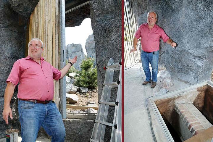 """Li.: Durch Türen und Scheiben in den Steinwänden sollen die Besucher einen tiefen EInblick in das Tierleben bekommen. Re.: """"Verneigung vor der alten Anlage"""": Ein Mauerstück soll an den ursprünglichen Bau erinnern."""