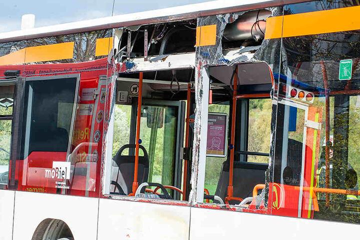 Durch den Aufprall zersprangen sogar die Scheiben im Bus.