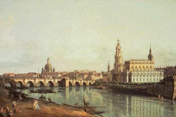 Ist die Ähnlichkeit nicht frappierend? Der historische Canaletto-Blick von Hofmaler Bernardo Bellotto.