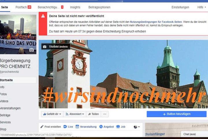 Dieser Hinweis war am Freitagvormittag auf der Facebookseite von Pro Chemnitz zu sehen.