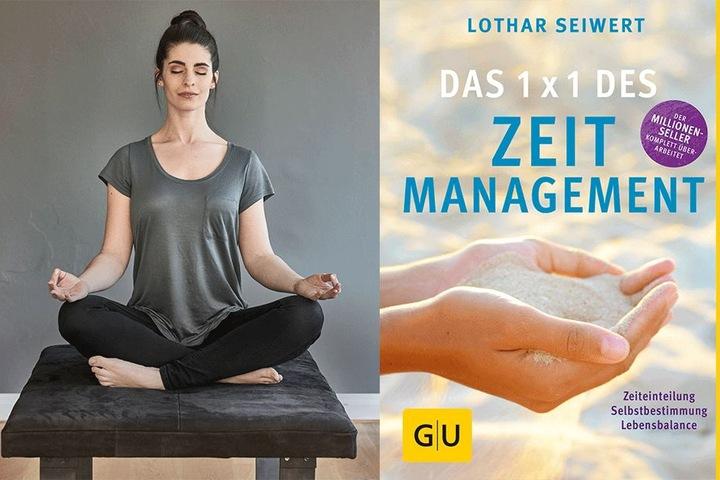 """Links: Augen zu und die Gedanken verscheuchen - die Seele wird es Ihnen danken. Rechts: """"Das 1x1 des Zeitmanagement"""" von Lothar Seiwert."""