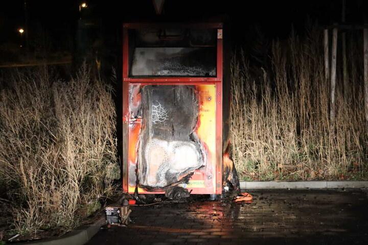 Ein anderer Altkleidercontainer in Frankenberg ist am Neujahrsmorgen ausgebrannt.