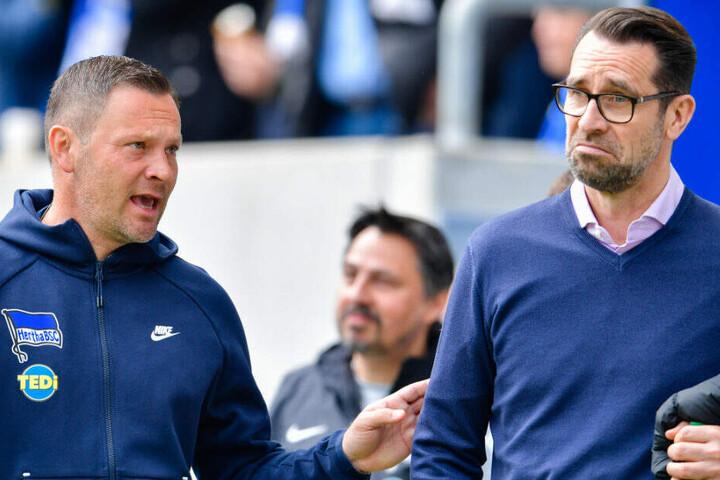 Pal Dardai und Michael Preetz nach dem Spiel gegen Hoffenheim.