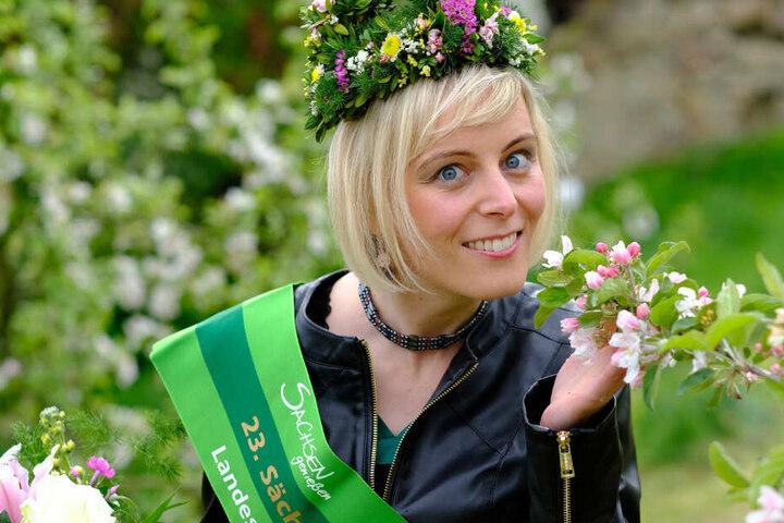 Antje Uhlig (32) aus Leipzig ist die 23. Sächsische Blütenkönigin.